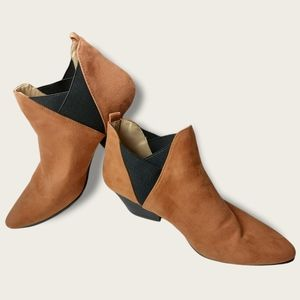 Qupid Tan Faux Suede Booties Size 8.5